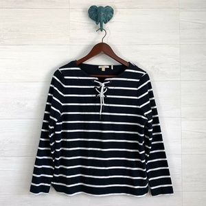 Barbour Navy White Nautical Striped Knit Top